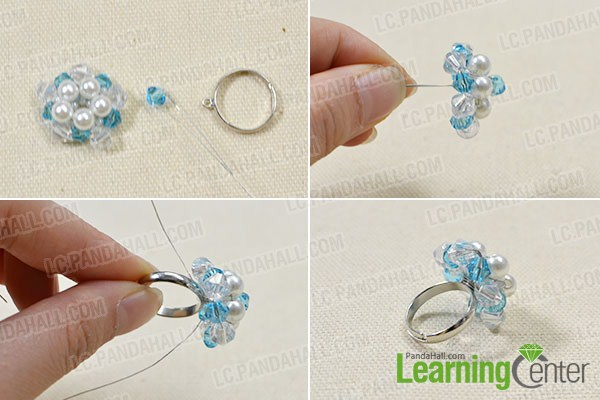 add blue faceted bead onto the top and ring base
