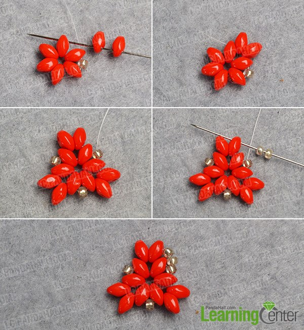 Finish the basic red see bead pattern