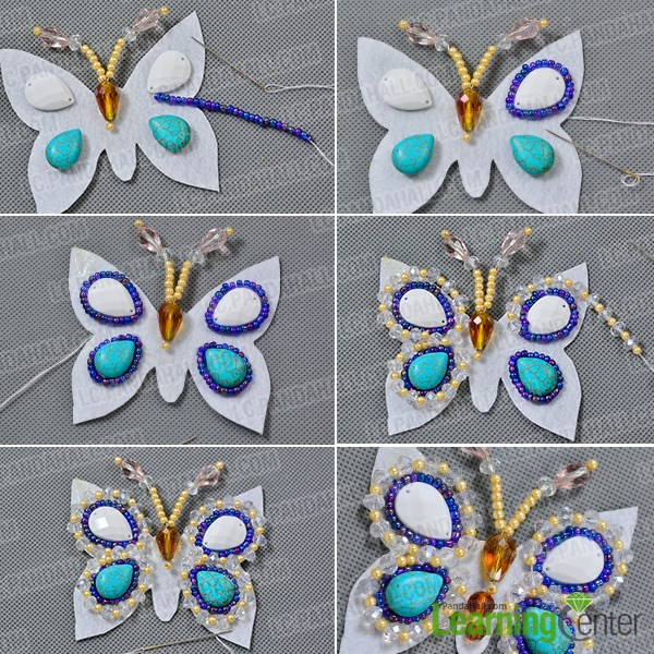 Add more beads to the felt butterfly