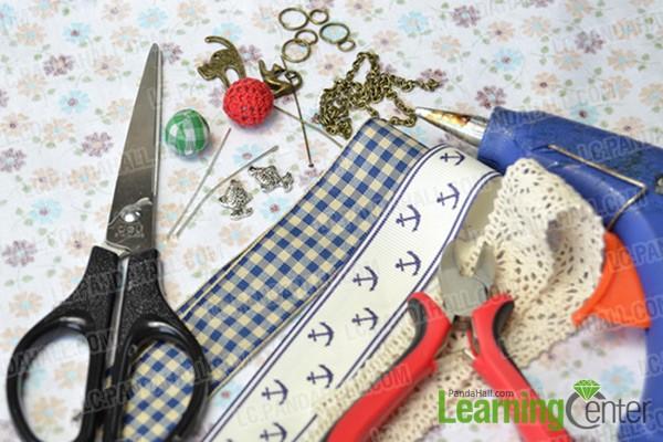 materials and tools for ribbon bow hair clip
