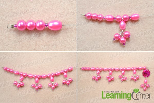 Make the second bead strand for double pearl necklace DIY