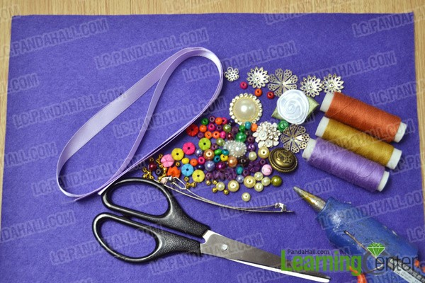 Materials and tools for making a leaf-shaped hair clip with flowers