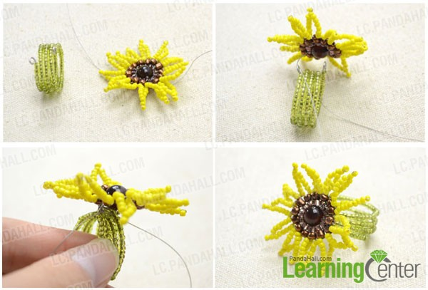 Assemble the beaded flower with memory wire ring base