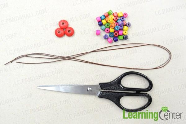 Materials needed in making wooden beads bracelet