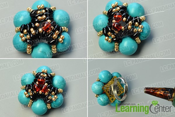 finish the flower beads ring
