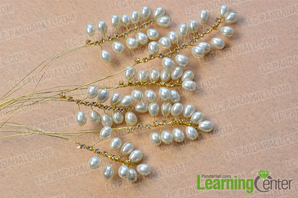 repeat the previous three steps to make another five pearl bead branches