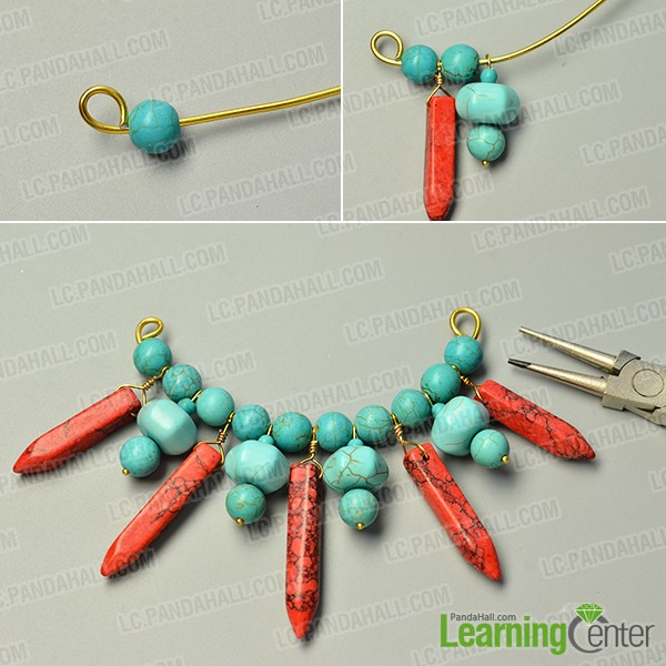 make the second part of the turquoise bead pendant necklace