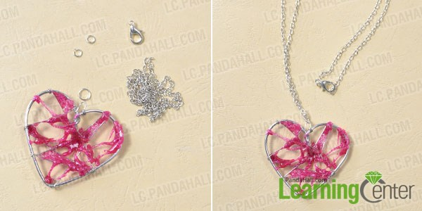 Finish the wire wrapped heart pendent necklace