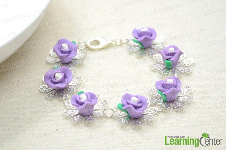 finished handmade polymer clay flower bracelet