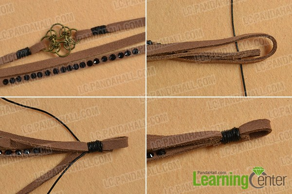 make the fifth part of the chocolate suede cord bracelet