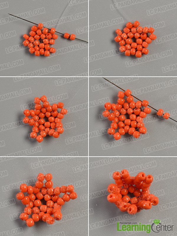 continue to add orange seed beads