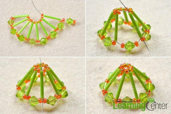 Make the beaded cover for the umbrella ornaments