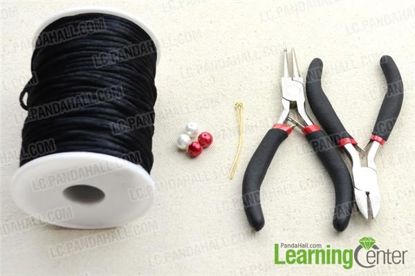 Materials needed for making easy black macramé bracelet