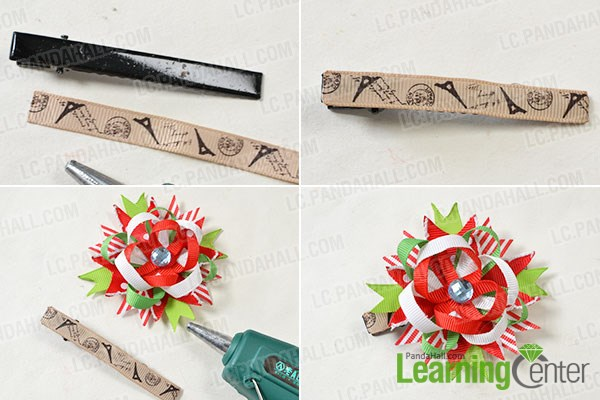 Finish the ribbon flower hair clip for Christmas