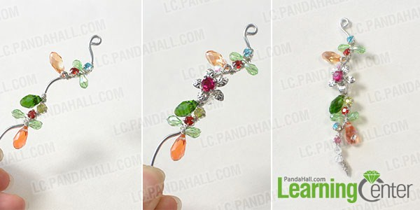 make the rest part of the wire wrapped and bead earrings