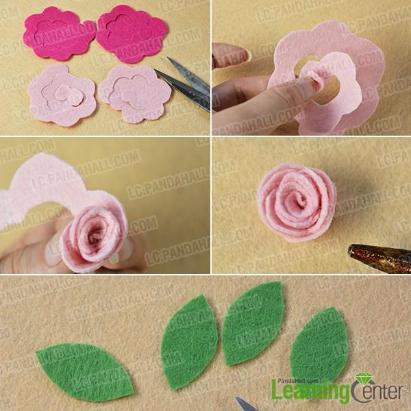 Make felt roses and green leaves