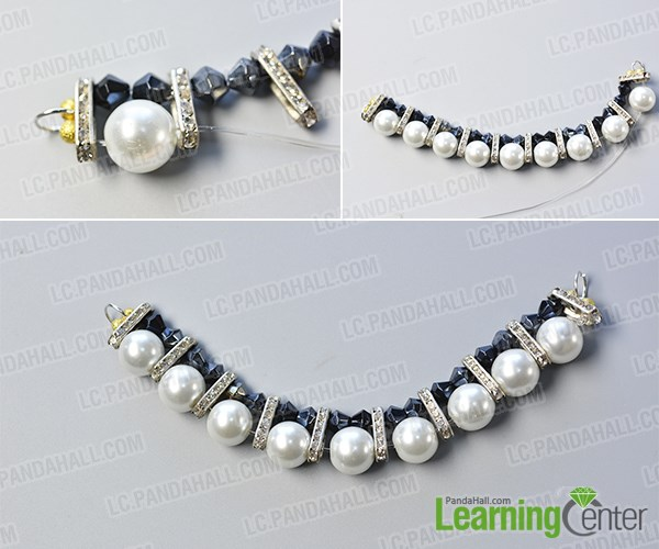 Make the second part of the black leather cord pearl necklace