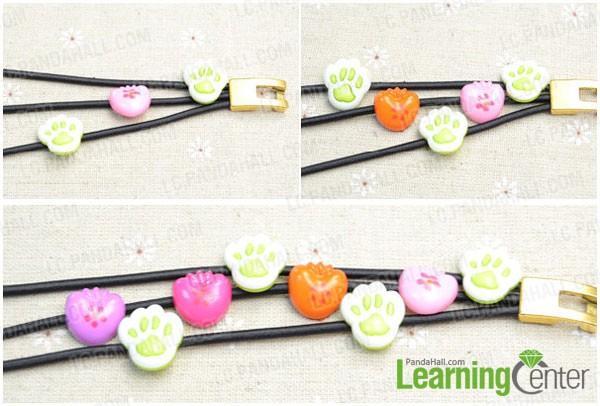 threading buttons onto the elastic bracelet