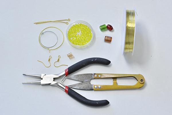 materials needed in DIY the yellow hoop earrings