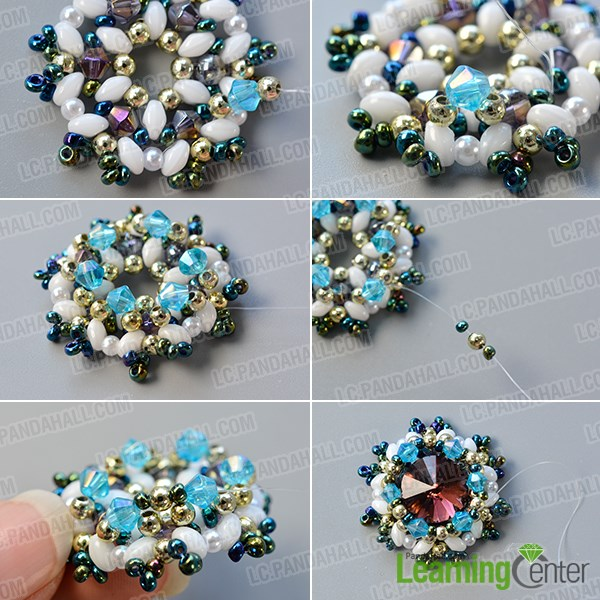 Continue to add more beads to the beaded pattern