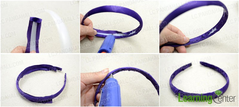 Cover the blank headband with pure purple fabric
