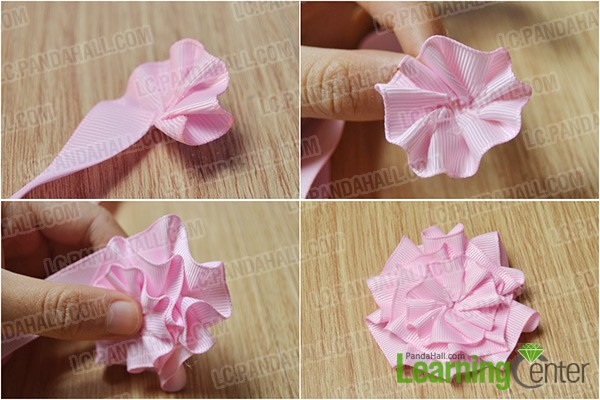 How to make a light pink ribbon rose brooch in a new way pandahall make a ribbon rose mightylinksfo