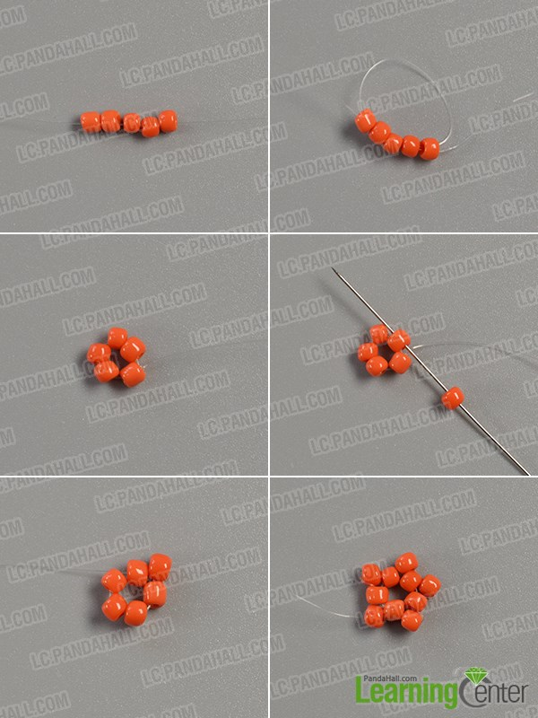 Start to slide the orange seed beads