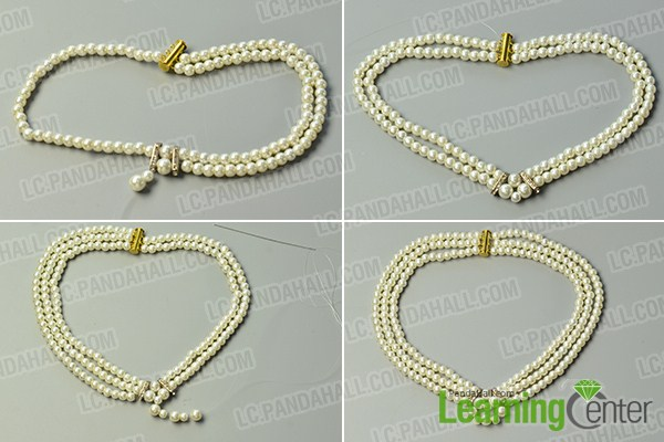 make the rest part of the three-strand white pearl bead necklace
