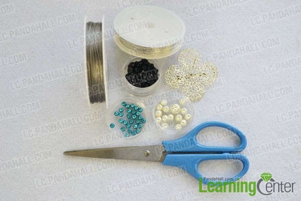 Materials for How to DIY Vintage Style Pearl Brooch with Glass Beads