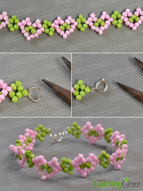 Finish making the beaded heart bracelet