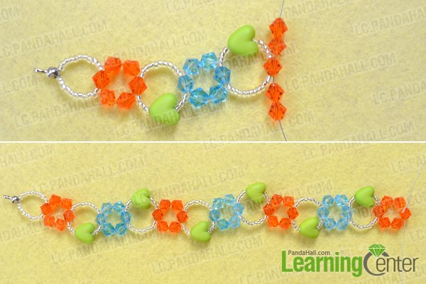 Make the basic flower pattern for glass bead bracelets