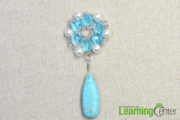 hang the long turquoise pendant to the beaded flower with a jumpring