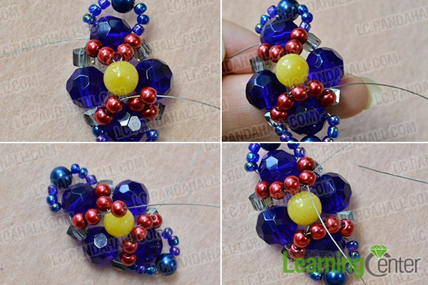 make the third part of the blue bead pendant necklace