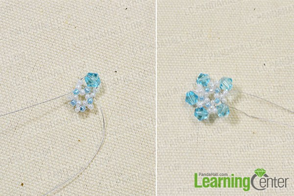 add blue faceted glass beads