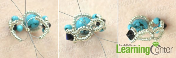 Finish making the handmade turquoise bead rings with wire