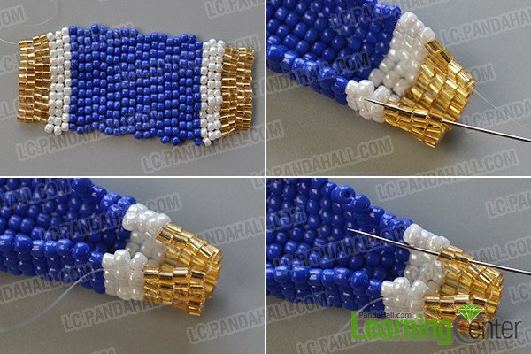 make the fourth part of the seed bead stitch pendant necklace