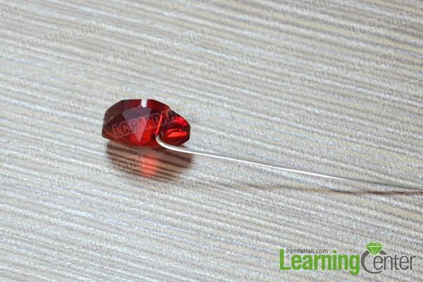 slide the heart pendant onto headpin