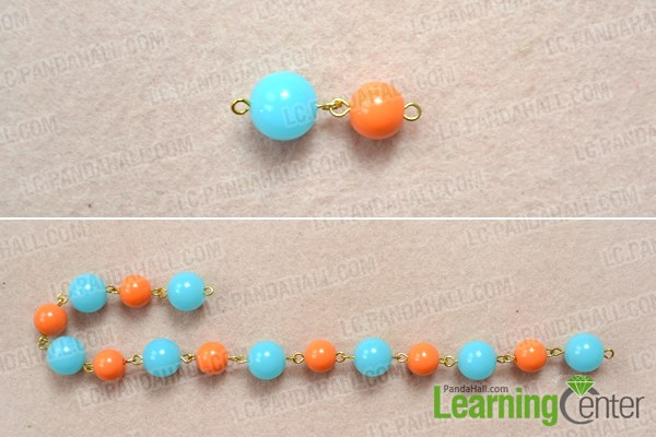 Make bead link chain for candy hair accessories