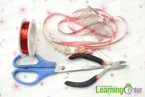Materials needed in diy fresh flower hair comb