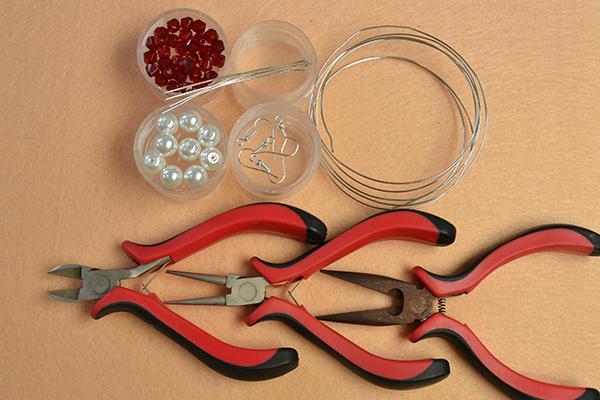 supplies needed in DIY the easy mickey beaded drop earrings