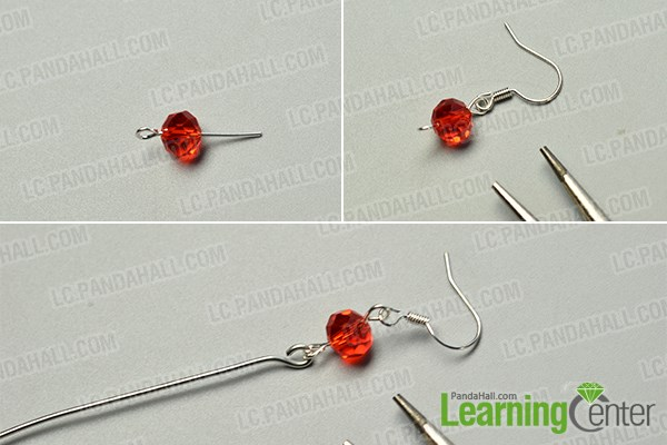 make the basic part of the red glass beads dangle earrings