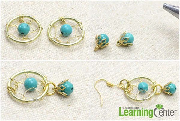 Step 2: Finish the dream catcher earrings