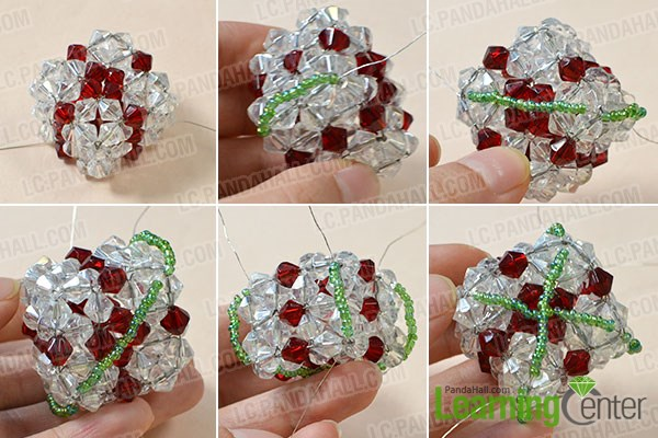 Add green seed bead adornment