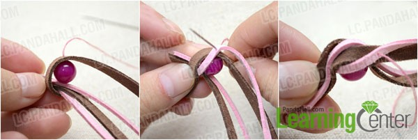 sew the suede cords in a twisted pattern