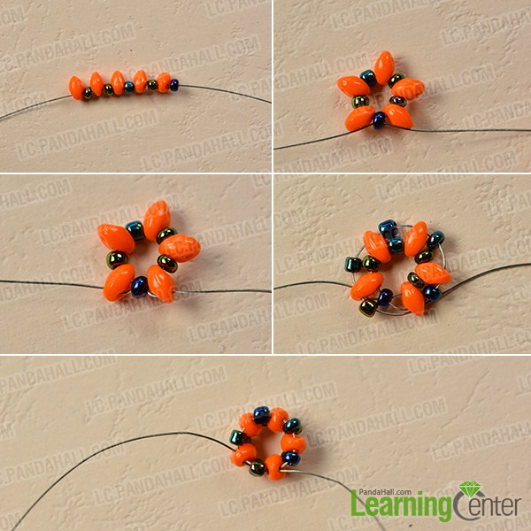 make the first part of the orange 2-hole seed bead bracelet
