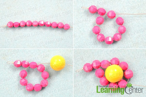 Instruction on how to make beaded flower necklace