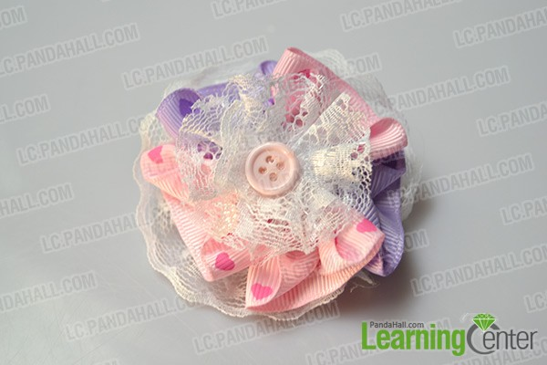 finished layered lace ribbon flowers brooch