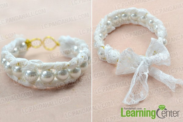 finish how to make a lace cuff bracelet