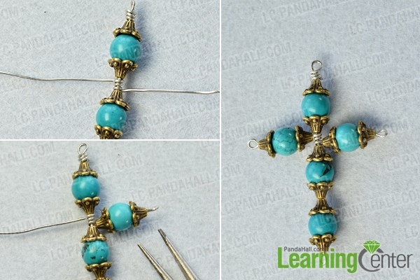 Pandahall tutorial on how to make a simple cross pendant necklace finish the turquoise bead pendant aloadofball Choice Image