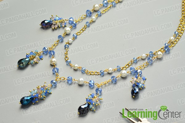 finish the pretty handmade glass beads chain necklace
